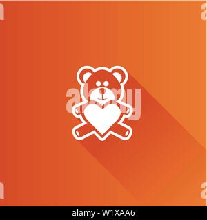 Teddy holding heart shape icon in Metro user interface color style. Valentine love present - Stock Photo