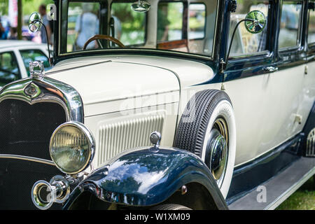 Bedford, Bedfordshire, UK June 2 2019. Fragment of 1930 s Style Ford Model A Saloon - Stock Photo