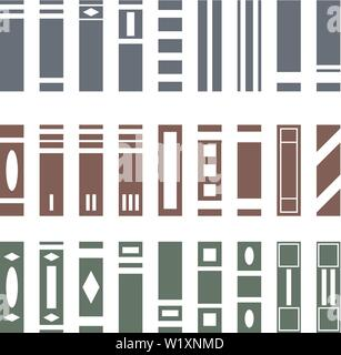 Vector Set of Various Kinds of Books. Side View. Books collection for bookshelf. Vector illustration isolated on white background for Design, Web. - Stock Photo