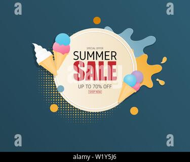 Summer sale banner background in paper cut style. Vector illustration design. poster. flyer. brochure. banner. template. promotion advertising. - Stock Photo