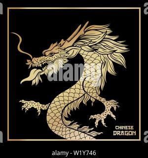 Asian golden dragon vector postcard template. Traditional Chinese festival creature on black background in frame. Oriental mythological serpent hand drawn illustration. New Year greeting card design - Stock Photo