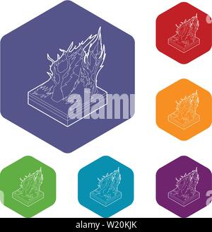 Forest fire icons vector hexahedron - Stock Photo