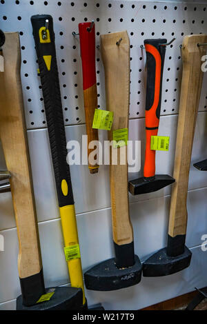 Chelyabinsk Region, Russia - JUNE 2019. Hardware store. Axes and hammers on sale - Stock Photo