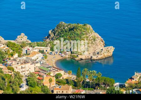 Seascape with beach and Taormina resort. Sicily, Italy - Stock Photo