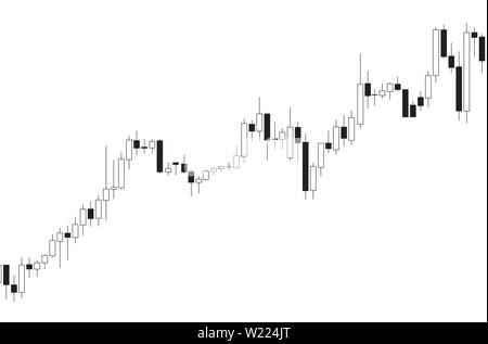 Japanese candlestick black and white chart showing downtrend market on white background - Stock Photo