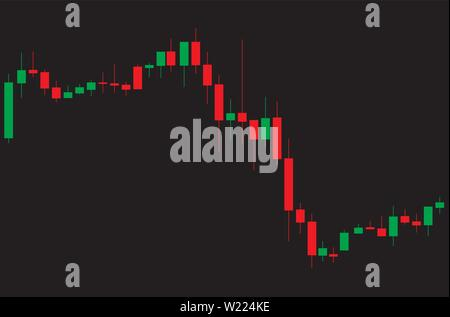 Japanese candlestick red and green chart showing downtrend market on black background - Stock Photo