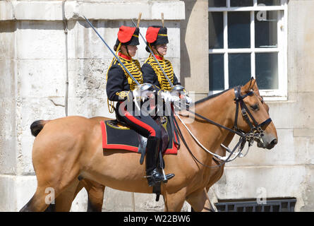London, England, UK. Members of the King's Troop, Royal Horse Artillery, taking part in the daily Changing of the Guard at Horse Guards parade in Whit - Stock Photo