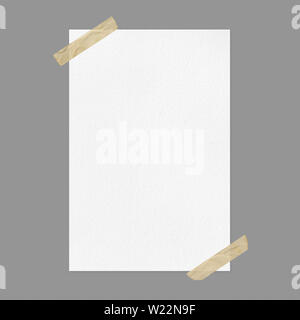 Blank white poster mockup on gray background, front view a4 paper sheet with adhesive tape and copy space - Stock Photo