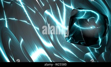 Fantasy colorful fractal background with glassy shining shapes. Abstract fractal shapes. 3D rendering illustration background or wallpaper. - Stock Photo