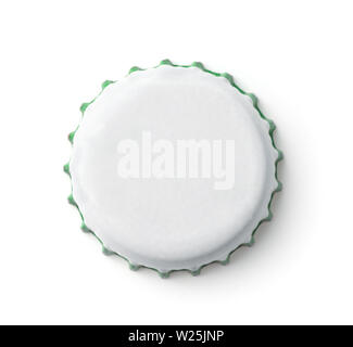 Top view of blank white bottle crown cap isolated on white - Stock Photo