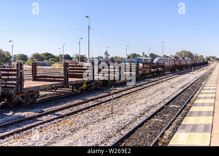 Freight carriages on the track at Otjiwarongo train station, Namibia - Stock Photo
