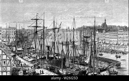 Panoramic view of Stettin (now Szczecin, Poland) harbor on the Baltic coast with sailships moored and cityscape, 19th century - Stock Photo