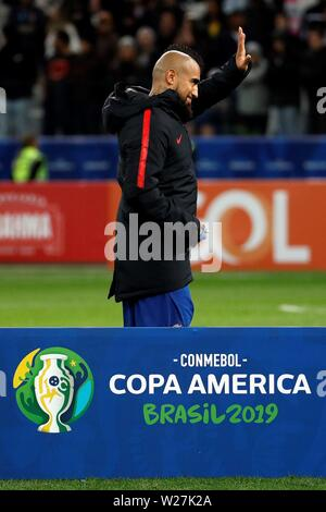 Sao Paulo, Brazil. 06th July, 2019. Chile's Arturo Vidal after the Copa America 2019 3rd place soccer match between Argentina and Chile, at Arena Corinthians Stadium in Sao Paulo, Brazil, 6 July 2019. Credit: Paulo Whitaker/EFE/Alamy Live News - Stock Photo