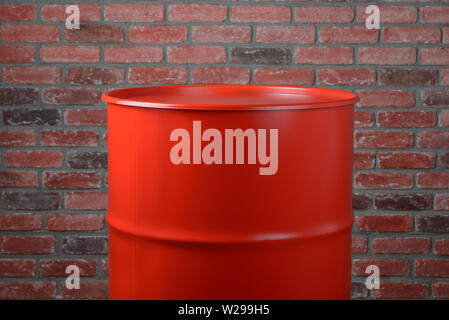 Big Iron Red Barrel in the industrial interior - Stock Photo