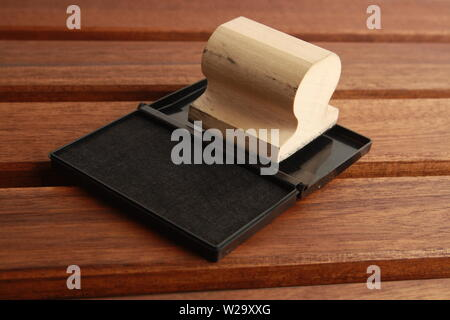 stamp ink made in wood - Stock Photo
