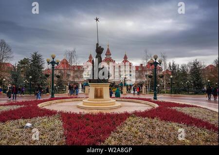 Exterior view of Marne la Vallee, France,the Disneyland Hotel At Disneyland Paris Theme Park (Euro Disney), France, Europe. - Stock Photo
