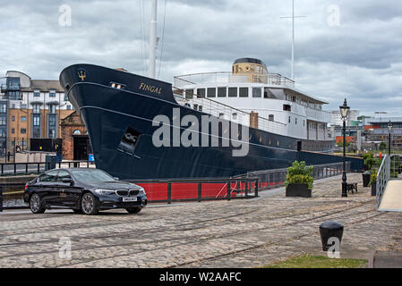 MV Fingal, a luxury floating hotel, berthed in Leith - Stock Photo