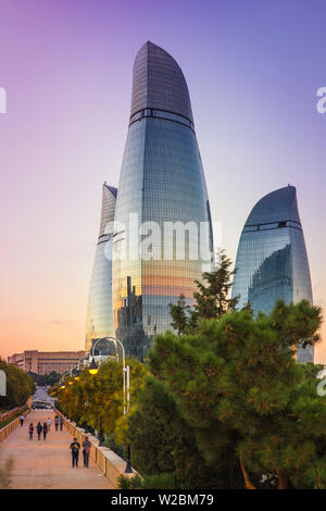 Azerbaijan, Baku, View of Sahidlar Xiyabani - Martyr's Lane and Flame Towers - Stock Photo