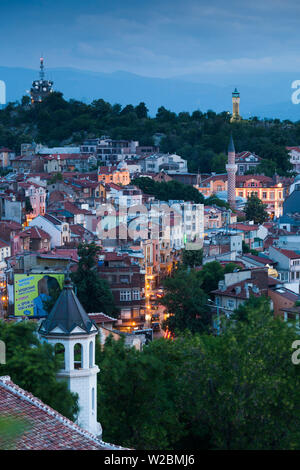Bulgaria, Southern Mountains, Plovdiv, elevated city view from Nebet Tepe hill, dusk - Stock Photo