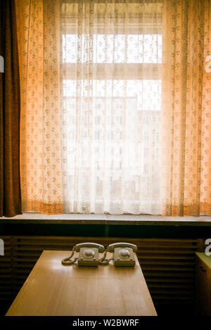 Germany, Berlin, Friendrichshain, Stasi Museum, DDR-era secret police museum in former secret police headquarters, telephones - Stock Photo
