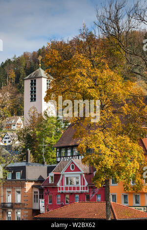Germany, Baden-Wurttemburg, Black Forest, Triberg, town buildings - Stock Photo