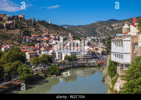 Georgia, Tbilisi, Avlabari, View of Tbilisi from cliff above  Mtkvari  (Kura) river looking over to the Old town - Stock Photo