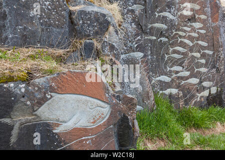 Greenland, Qaqortoq, Stone and Man outdoor sculpture project, They Came, by Aka Hough, 1994 - Stock Photo