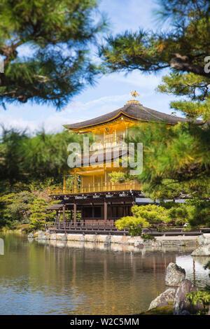 Japan, Kyoto, Kinkaku-ji, -The Golden Pavilion officially named Rokuon-ji - Stock Photo