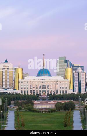 Central Asia, Kazakhstan, Astana, City Skyline and Ak Orda Presidential Palace of President Nursultan Nazarbayev - Stock Photo