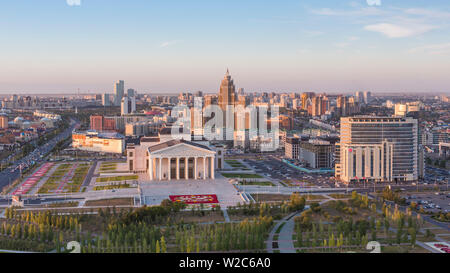 Central Asia, Kazakhstan, Astana, elevated view over the city center and Opera Theater building - Stock Photo