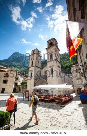 The picturesque St. Tryphon Cathedral, Kotor, Bay of Kotorska, Montenegro - Stock Photo