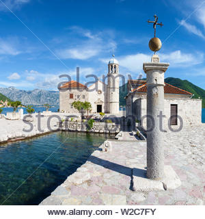 Church of Our Lady of the Rocks, Our Lady of the Rocks Island, Perast, Bay of Kotorska, Montenegro - Stock Photo