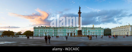 Russia, Saint Petersburg, Palace Square, Alexander Column and the Hermitage, Winter Palace - Stock Photo