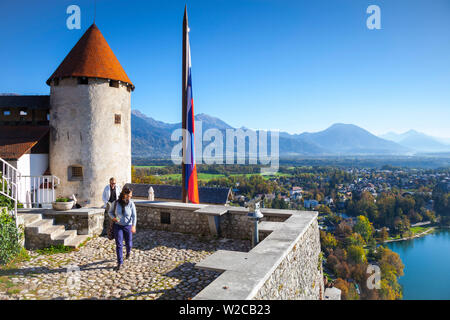 Elevated view over Bled Castle and surrounding countryside, Lake Bled, Bled, Upper Carniola, Julian Alps, Slovenia - Stock Photo