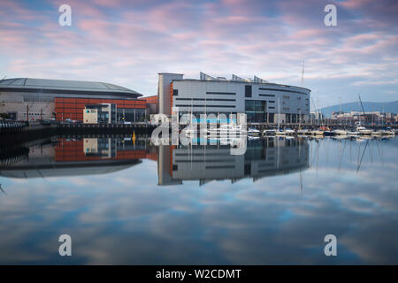 United Kingdom, Northern Ireland, Belfast, The SSE Arena, formerly known as the Odyssey Arena and W5 Science and discovery centre - Stock Photo