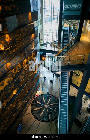 UK, Northern Ireland, Belfast, Belfast Docklands, Titanic Belfast Museum, interior - Stock Photo