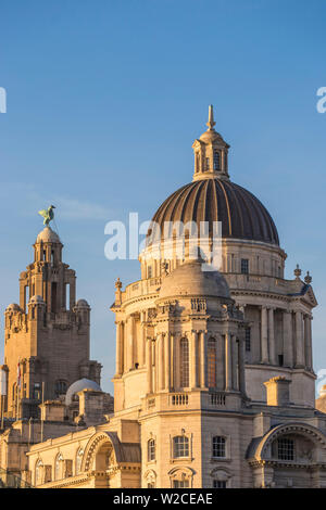 United Kingdom, England, Merseyside, Liverpool, The Port of Liverpool Building and The Royal Liver Building - two of The Three Graces buildings - Stock Photo