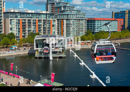 UK, England, London, Royal Victoria Dock from the Emirates Air Line or Thames Cable Car over River Thames, from Greenwich Peninsula to Royal Docks - Stock Photo