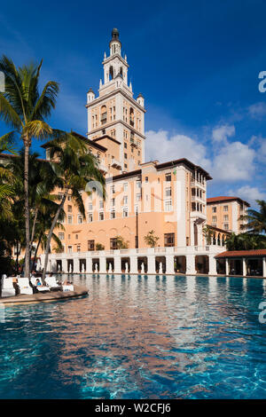 USA, Florida, Coral Gables, The Biltmore Hotel and swimming pool, largest hotel pool in the continental USA - Stock Photo