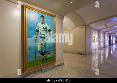 USA, Oklahoma, Oklahoma City, Oklahoma State Capitol Building, painting of Mickey Mantle, legendary baseball player for the New York Yankees, born in Oklahoma - Stock Photo