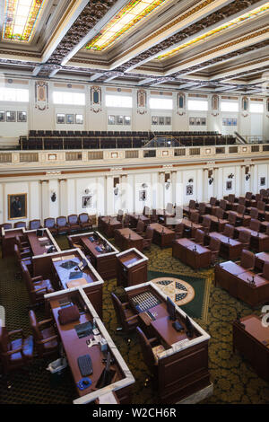 USA, Oklahoma, Oklahoma City, Oklahoma State Capitol Building, chamber of the Oklahoma House of Representatives - Stock Photo