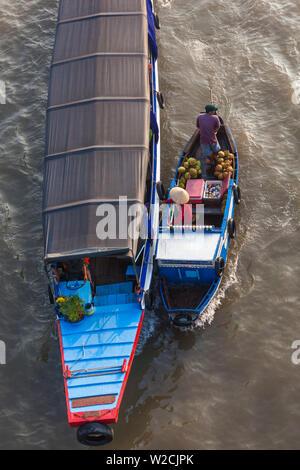 Vietnam, Mekong Delta, Cai Rang, Cai Rang Floating Market, elevated view, Can Tho River - Stock Photo