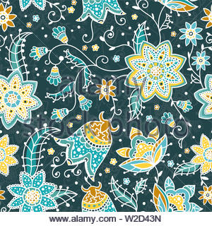 Creative floral seamless pattern with abstract doodle flowers, vintage background in turquoise, yellow and orange - great for fashion prints, textiles - Stock Photo