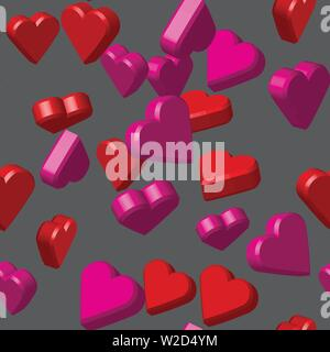 Pink Red Colors Hearts Seamless Pattern, 3D Illustration - Stock Photo
