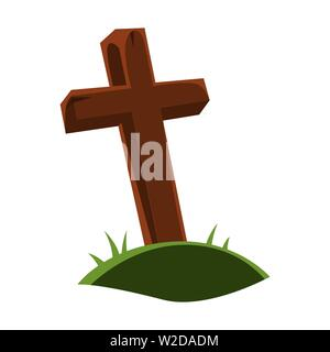 Happy halloween illustration of grave cross. - Stock Photo