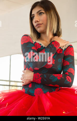 portrait of beautiful ballerina hugging herself with red flower tutu - Stock Photo