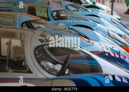 24 Hours of Le Mans Porsche 917 racing car line up in Gulf and Martini livery at Goodwood Festival of Speed 2019, Chichester, West Sussex, England UK - Stock Photo