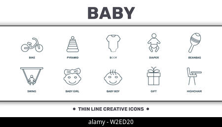 Baby Things icons set collection. Includes creative elements such as Baby Bike, Baby Pyramid, Body, Diaper, Beanbag, Girl and Baby Boy premium icons. - Stock Photo