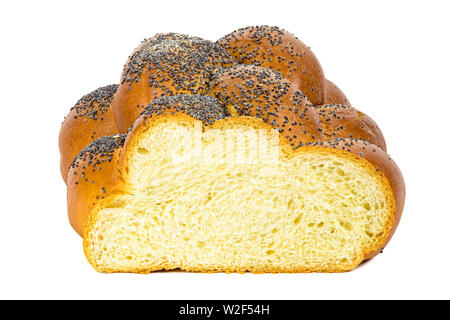 Fresh sliced challah bread isolated on white background with clipping path - Stock Photo