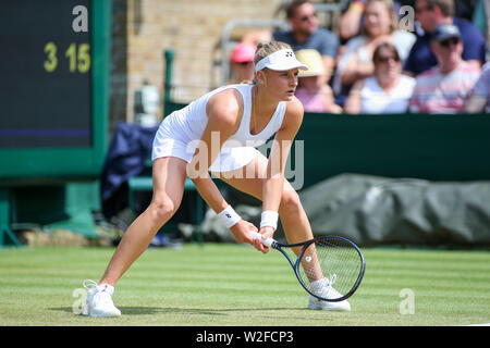 Wimbledon, London, UK. 8th July, 2019. Dayana Yastremska of Ukraine during the women's singles fourth round match of the Wimbledon Lawn Tennis Championships against Shuai Zhang of China at the All England Lawn Tennis and Croquet Club in London, England on July 8, 2019. Credit: AFLO/Alamy Live News - Stock Photo